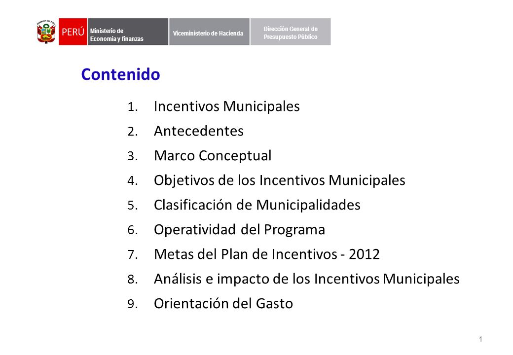 1. Incentivos Municipales