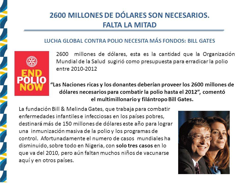 2600 MILLONES DE DÓLARES SON NECESARIOS. FALTA LA MITAD
