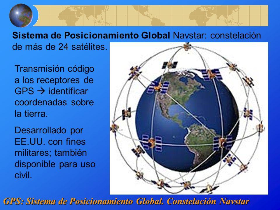 Sistema de Posicionamiento Global Navstar: constelación de más de 24 satélites.