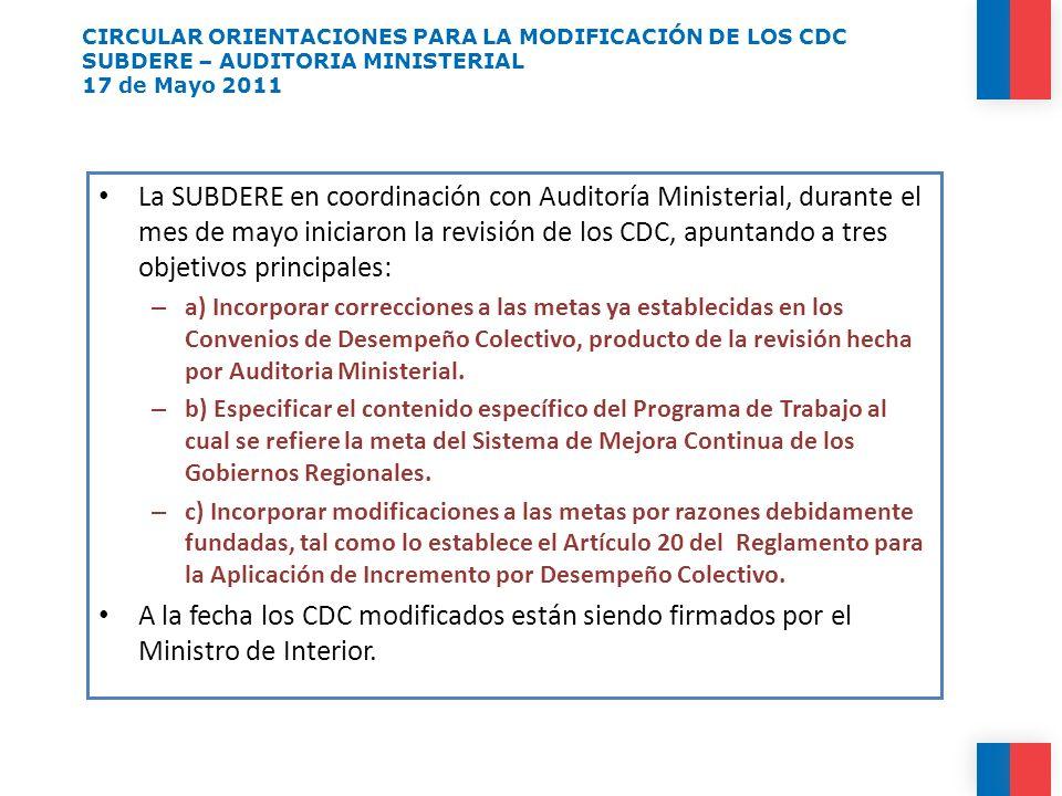 CIRCULAR ORIENTACIONES PARA LA MODIFICACIÓN DE LOS CDC SUBDERE – AUDITORIA MINISTERIAL 17 de Mayo 2011