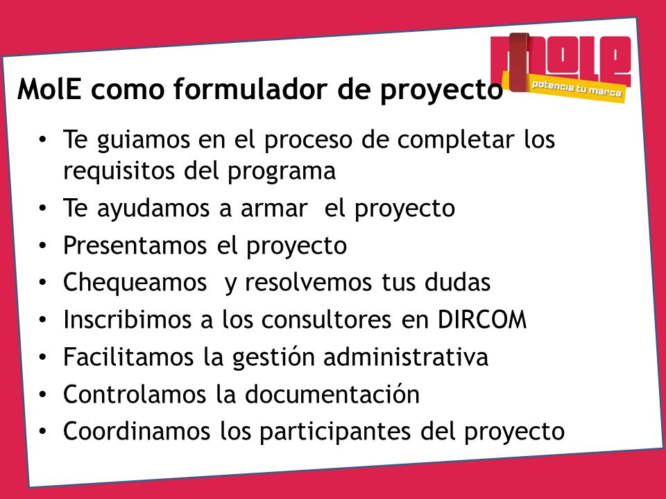 MolE como formulador de proyecto