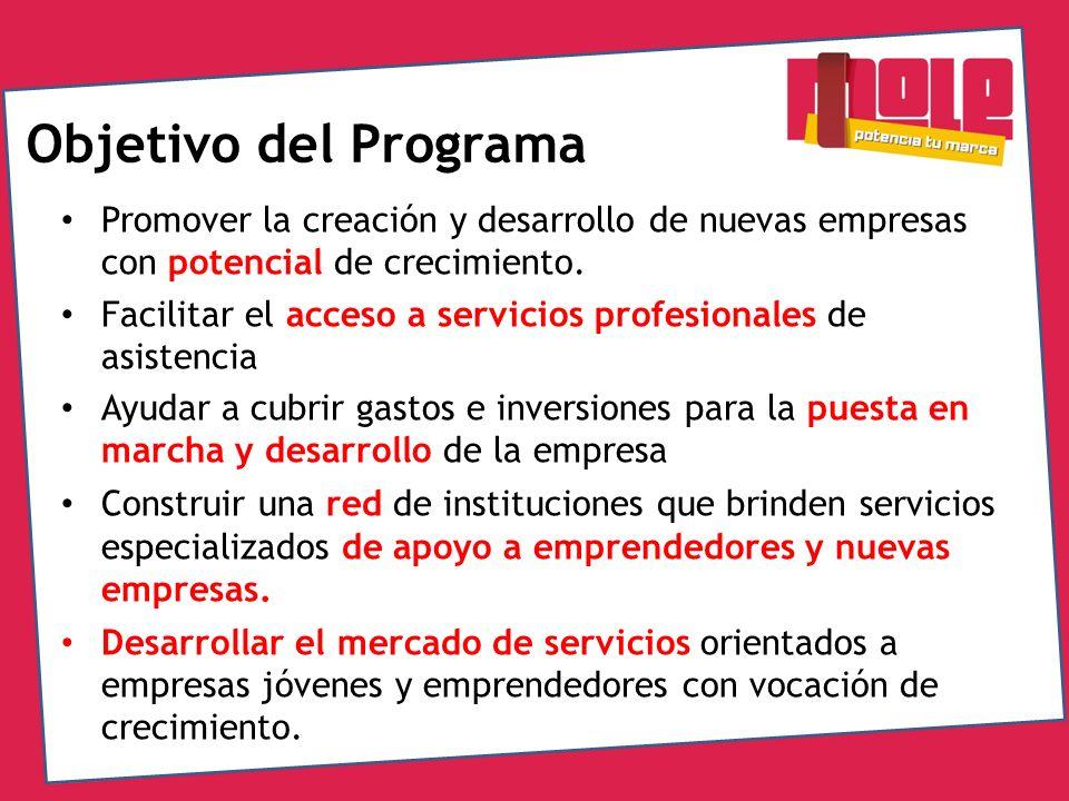 Objetivo del Programa Promover la creación y desarrollo de nuevas empresas con potencial de crecimiento.
