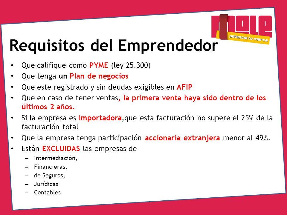 Requisitos del Emprendedor