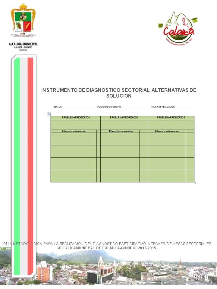 INSTRUMENTO DE DIAGNOSTICO SECTORIAL ALTERNATIVAS DE SOLUCION