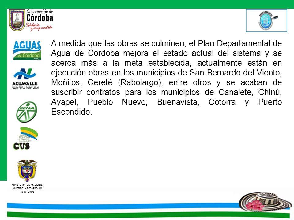A medida que las obras se culminen, el Plan Departamental de Agua de Córdoba mejora el estado actual del sistema y se acerca más a la meta establecida, actualmente están en ejecución obras en los municipios de San Bernardo del Viento, Moñitos, Cereté (Rabolargo), entre otros y se acaban de suscribir contratos para los municipios de Canalete, Chinú, Ayapel, Pueblo Nuevo, Buenavista, Cotorra y Puerto Escondido.