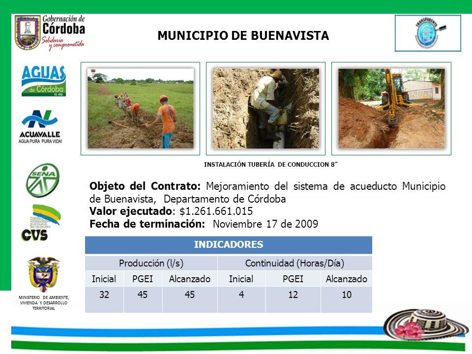 MUNICIPIO DE BUENAVISTA INSTALACIÓN TUBERÍA DE CONDUCCION 8