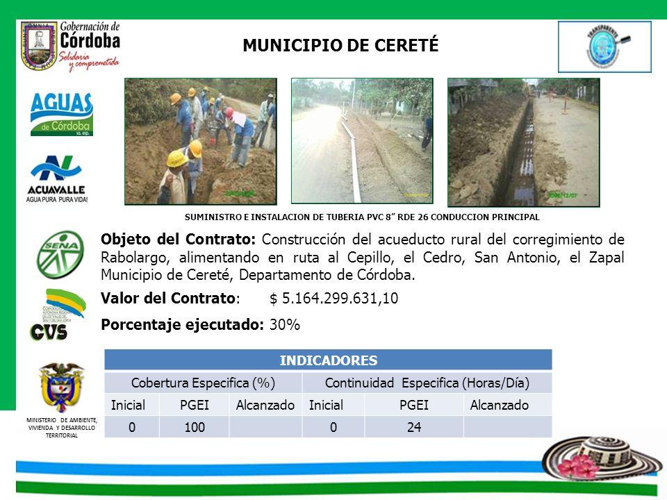 SUMINISTRO E INSTALACION DE TUBERIA PVC 8 RDE 26 CONDUCCION PRINCIPAL
