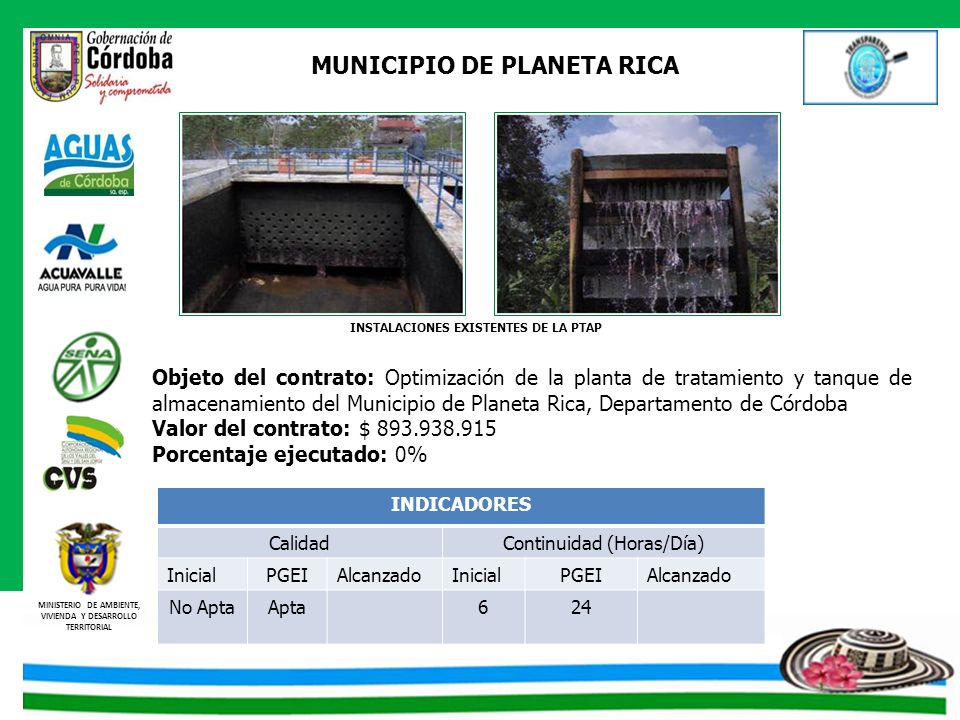 MUNICIPIO DE PLANETA RICA INSTALACIONES EXISTENTES DE LA PTAP