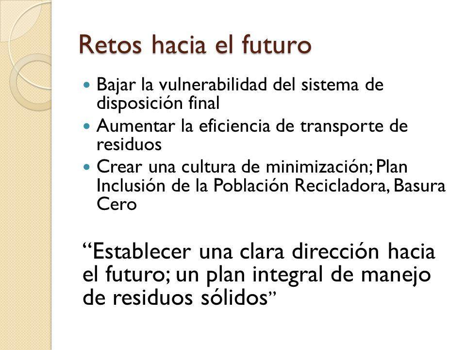 Retos hacia el futuro Bajar la vulnerabilidad del sistema de disposición final. Aumentar la eficiencia de transporte de residuos.