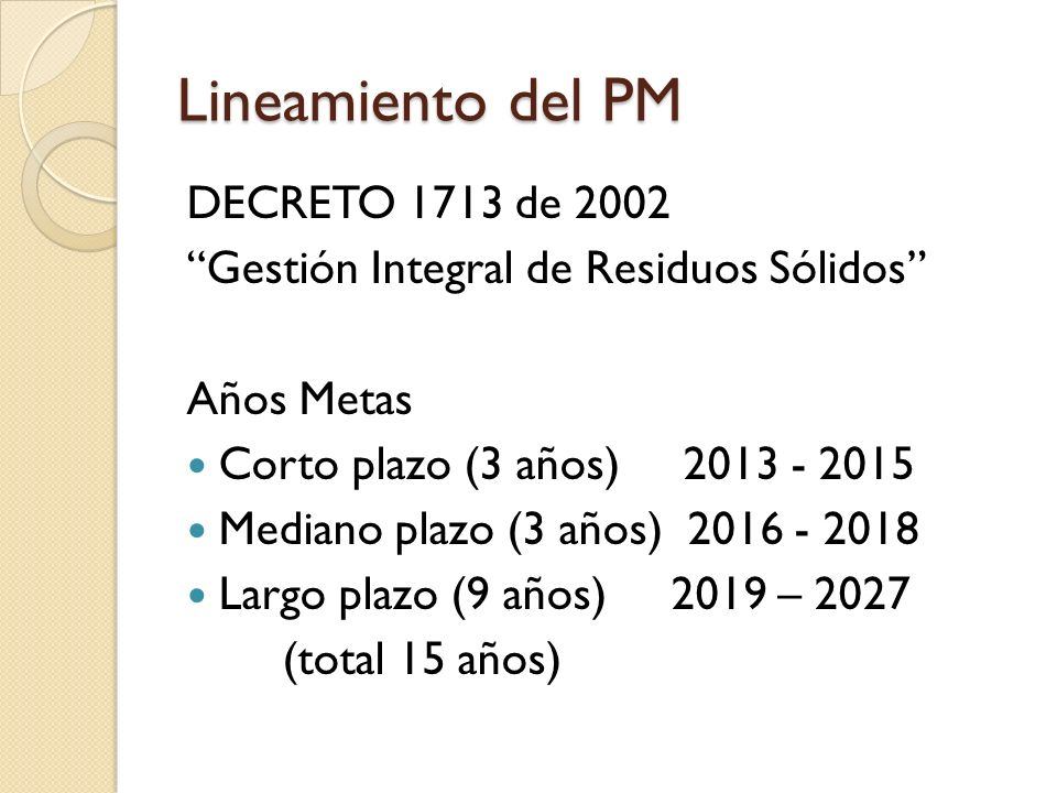 Lineamiento del PM DECRETO 1713 de 2002