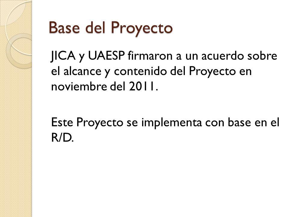 Base del Proyecto JICA y UAESP firmaron a un acuerdo sobre el alcance y contenido del Proyecto en noviembre del 2011.