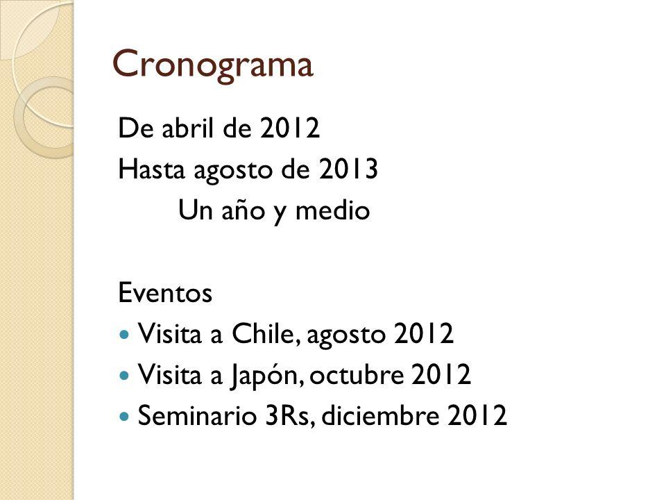 Cronograma De abril de 2012 Hasta agosto de 2013 Un año y medio