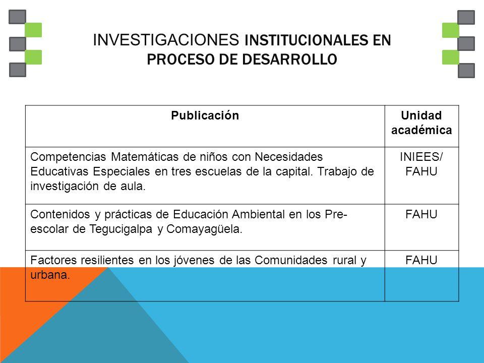 Investigaciones institucionales en proceso de desarrollo