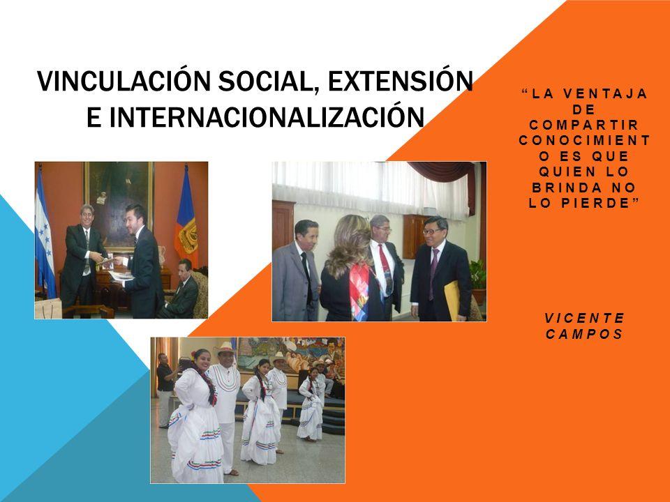 VINCULACIÓN SOCIAL, EXTENSIÓN E INTERNACIONALIZACIÓN