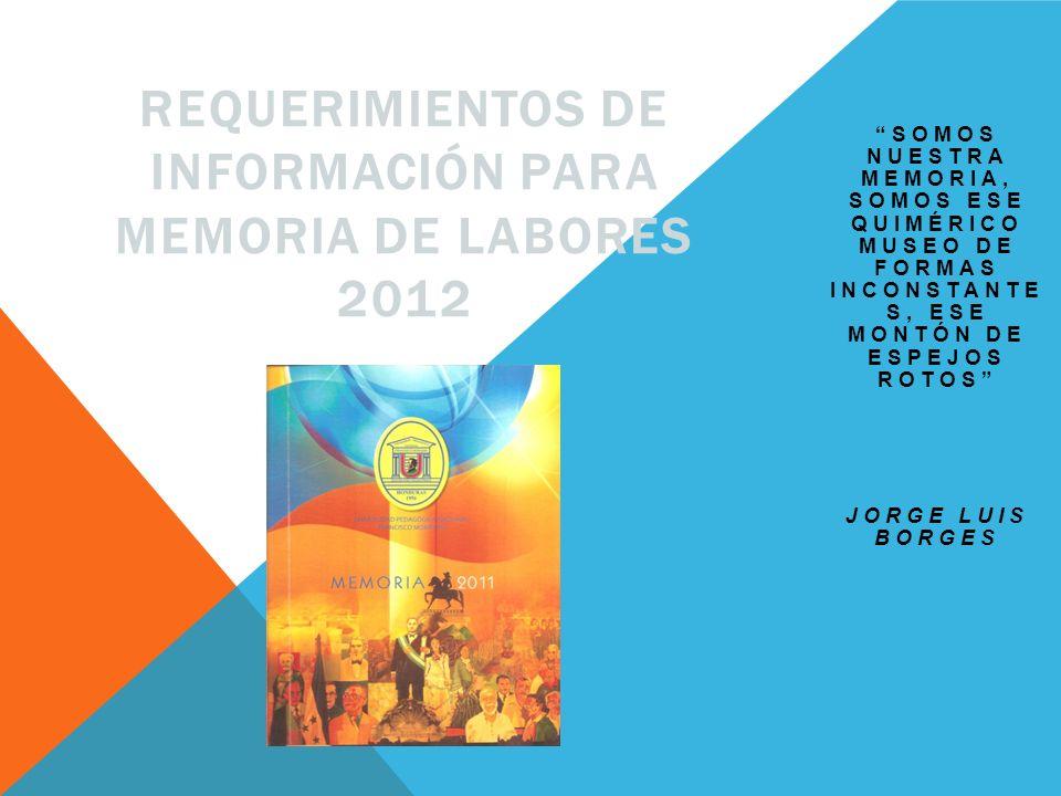 Requerimientos de información para Memoria de Labores 2012