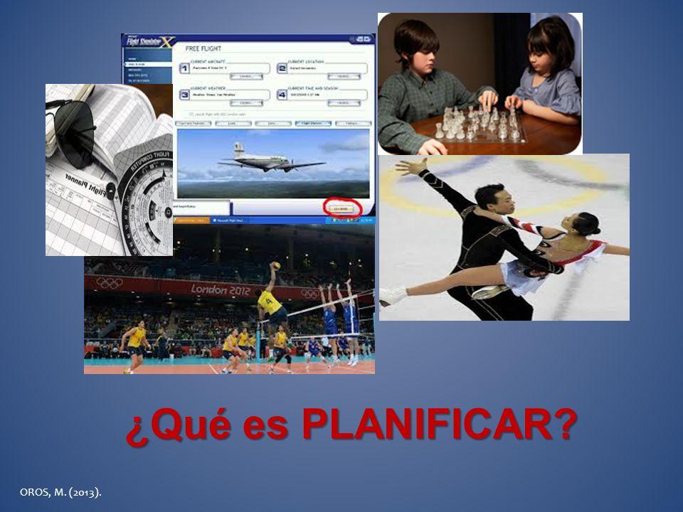 ¿Qué es PLANIFICAR OROS, M. (2013).
