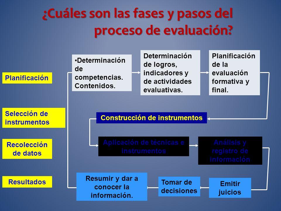 ¿Cuáles son las fases y pasos del proceso de evaluación