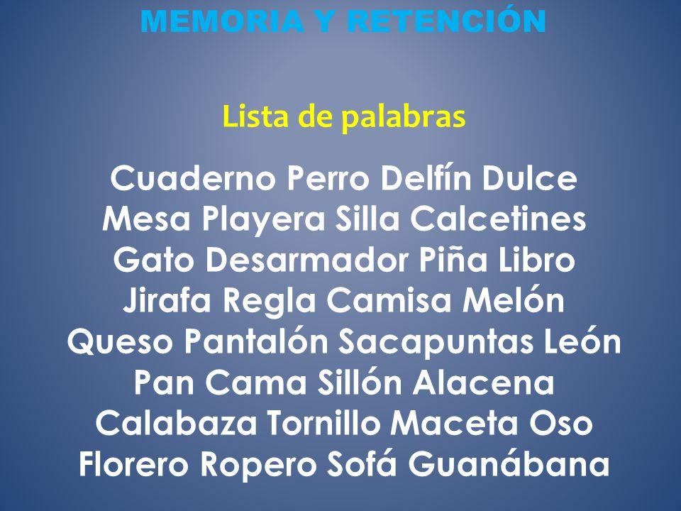 MEMORIA Y RETENCIÓN Lista de palabras.