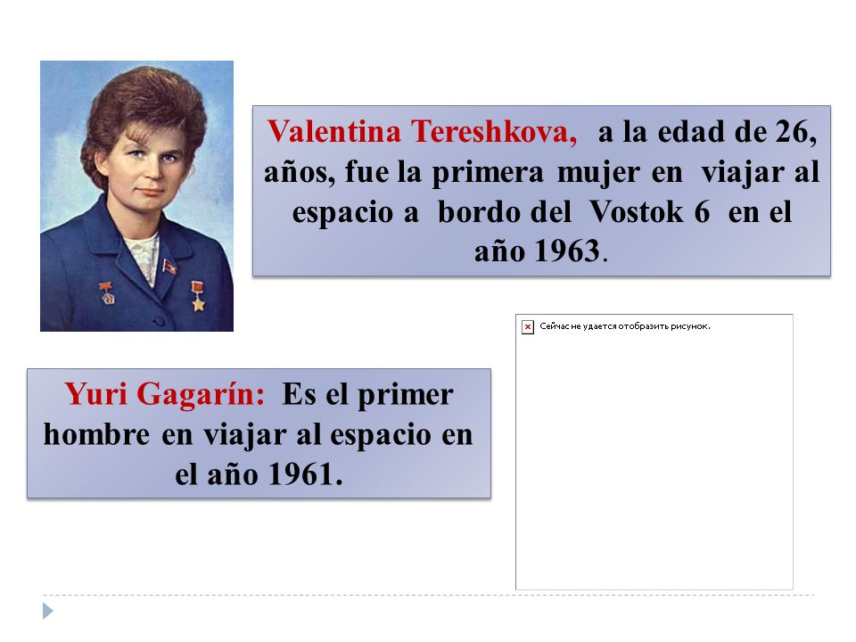Yuri Gagarín: Es el primer hombre en viajar al espacio en el año 1961.