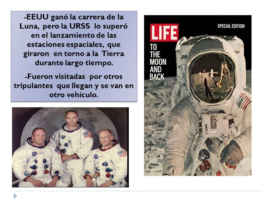 -EEUU ganó la carrera de la Luna, pero la URSS lo superó en el lanzamiento de las estaciones espaciales, que giraron en torno a la Tierra durante largo tiempo.