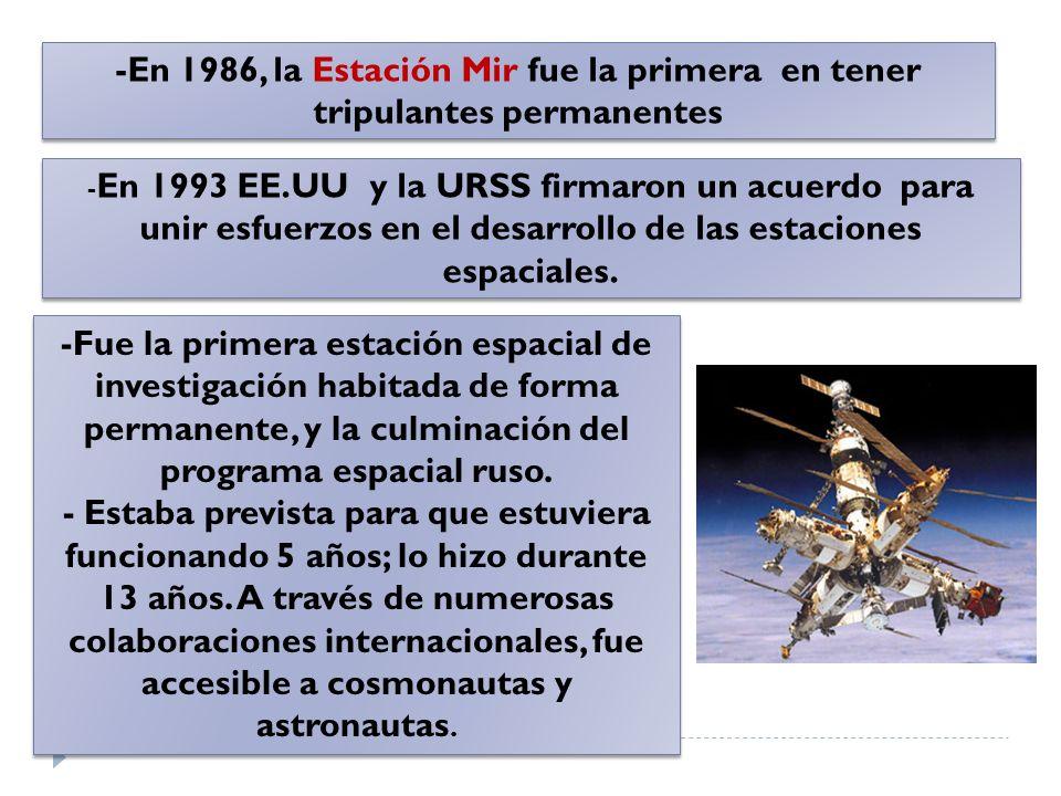 -En 1986, la Estación Mir fue la primera en tener tripulantes permanentes