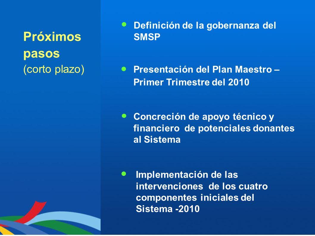 Próximos pasos (corto plazo) Definición de la gobernanza del SMSP