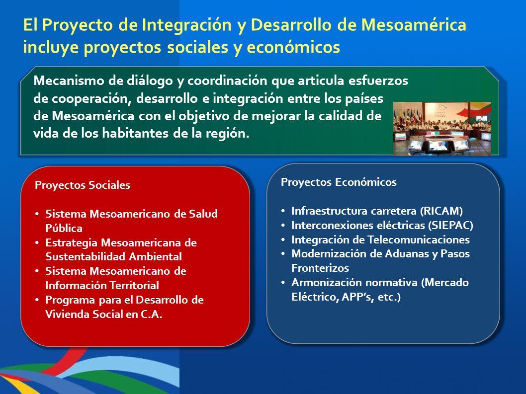 El Proyecto de Integración y Desarrollo de Mesoamérica incluye proyectos sociales y económicos