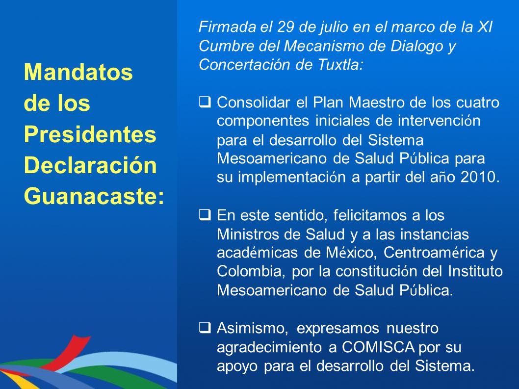 Mandatos de los Presidentes Declaración Guanacaste: