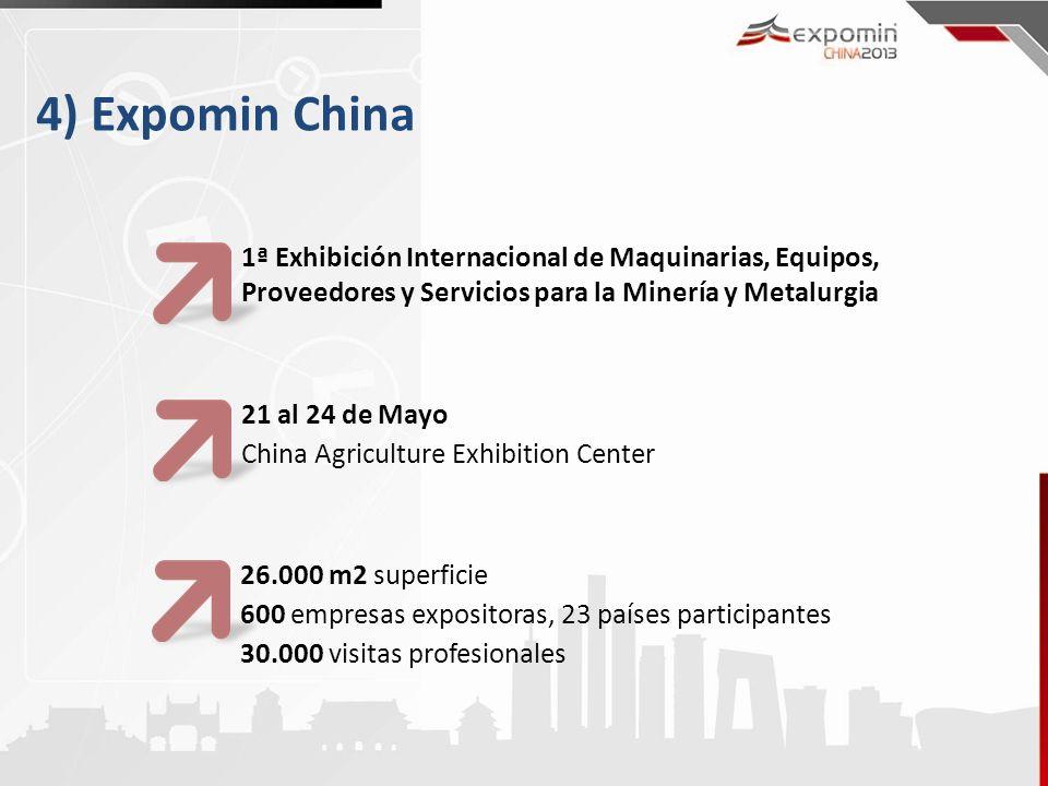 4) Expomin China 1ª Exhibición Internacional de Maquinarias, Equipos, Proveedores y Servicios para la Minería y Metalurgia.