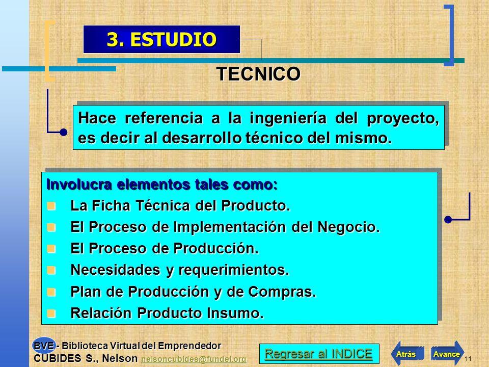 3. ESTUDIO TECNICO. Hace referencia a la ingeniería del proyecto, es decir al desarrollo técnico del mismo.
