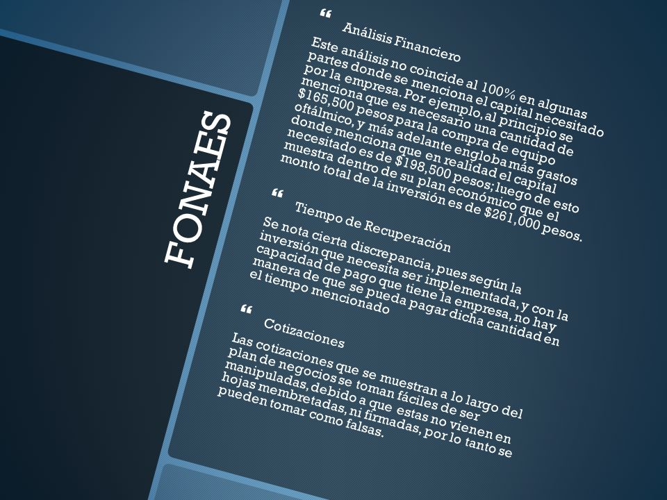 FONAES Análisis Financiero