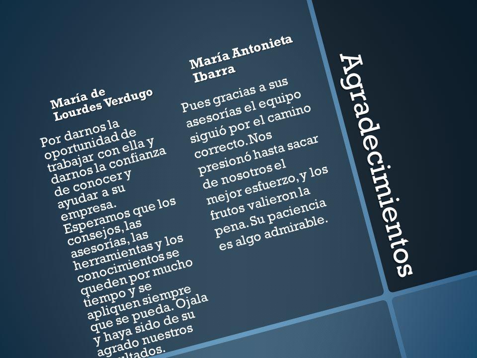 Agradecimientos María Antonieta Ibarra
