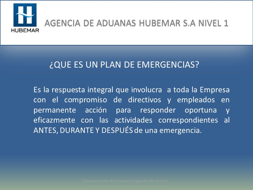 ¿QUE ES UN PLAN DE EMERGENCIAS