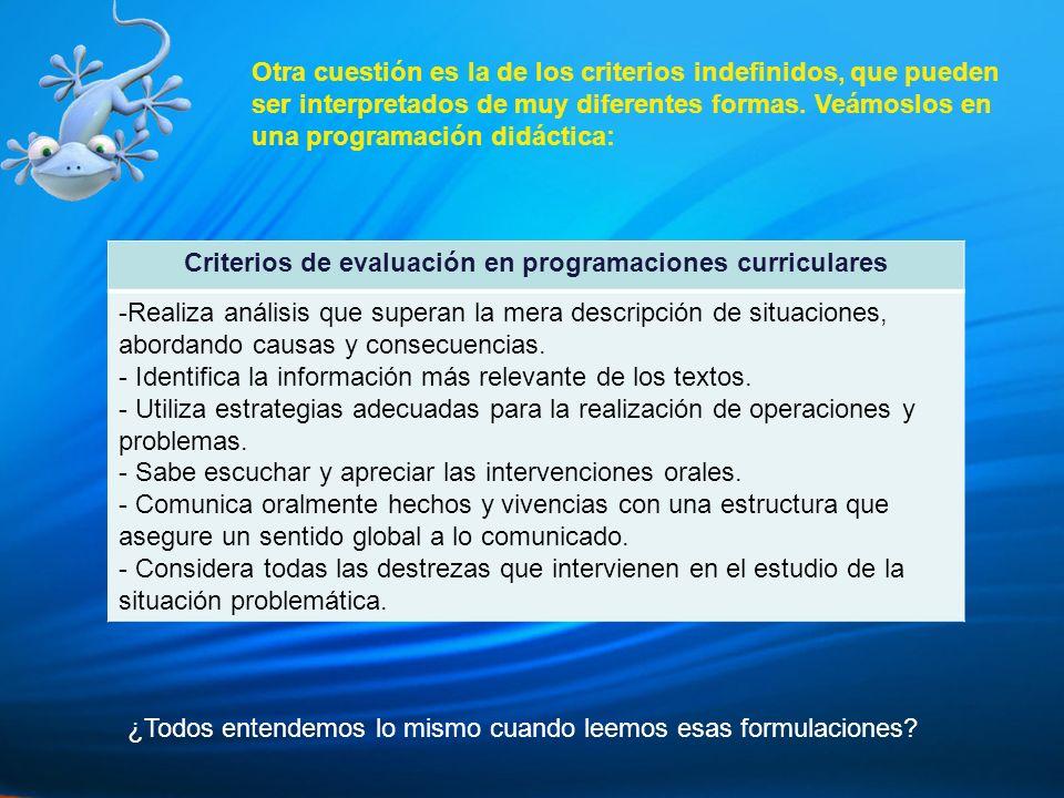 Criterios de evaluación en programaciones curriculares