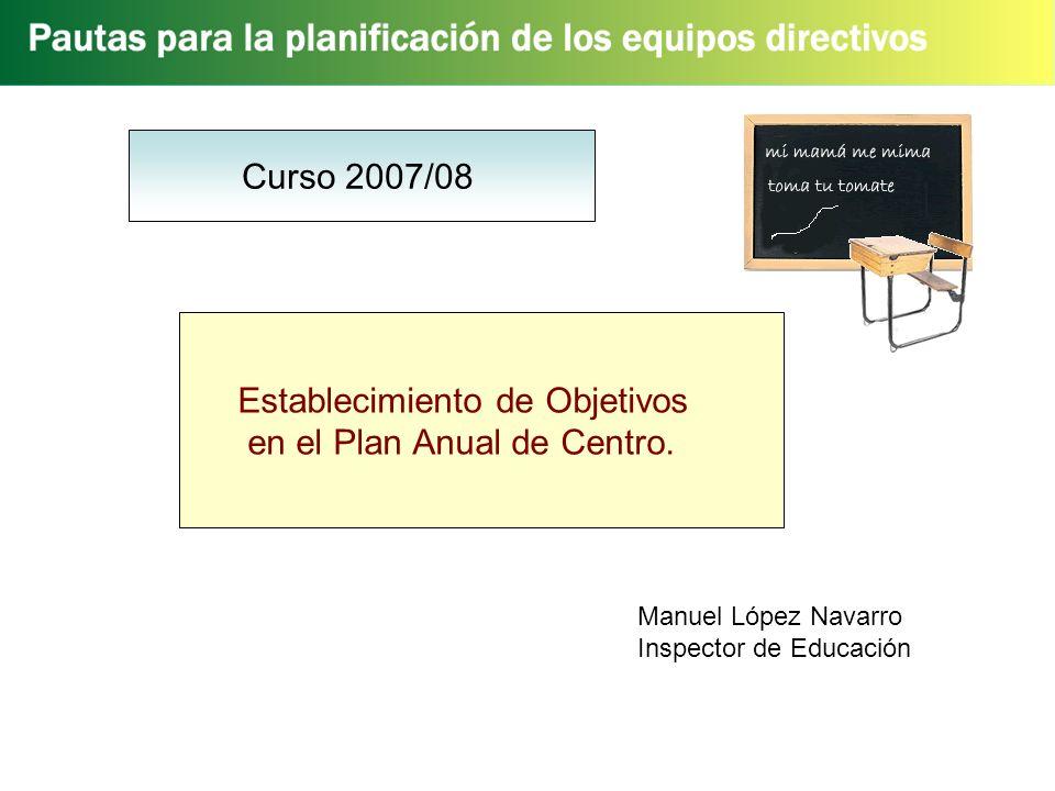 Establecimiento de Objetivos en el Plan Anual de Centro.