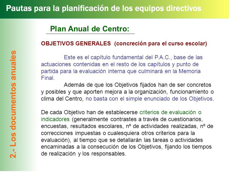 Plan Anual de Centro: OBJETIVOS GENERALES (concreción para el curso escolar)