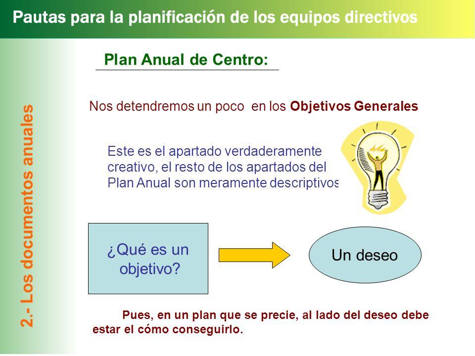 Plan Anual de Centro: ¿Qué es un Un deseo objetivo