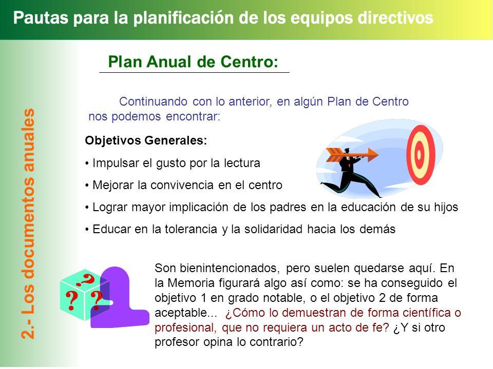 Plan Anual de Centro: Continuando con lo anterior, en algún Plan de Centro nos podemos encontrar: Objetivos Generales: