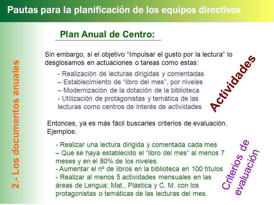 Actividades Criterios de evaluación Plan Anual de Centro:
