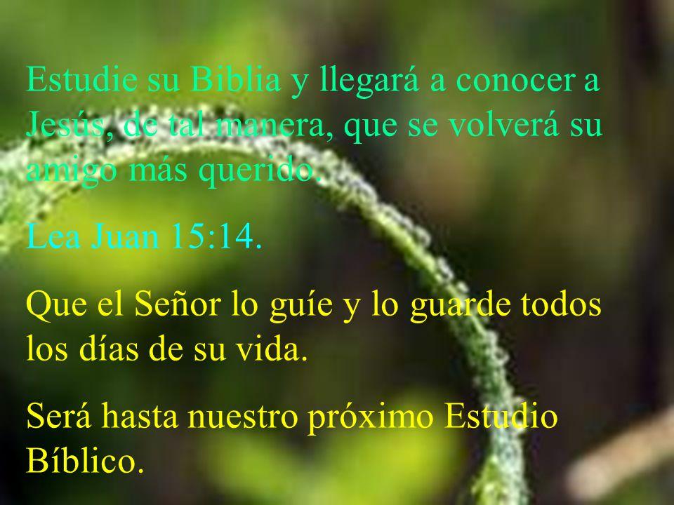Estudie su Biblia y llegará a conocer a Jesús, de tal manera, que se volverá su amigo más querido.