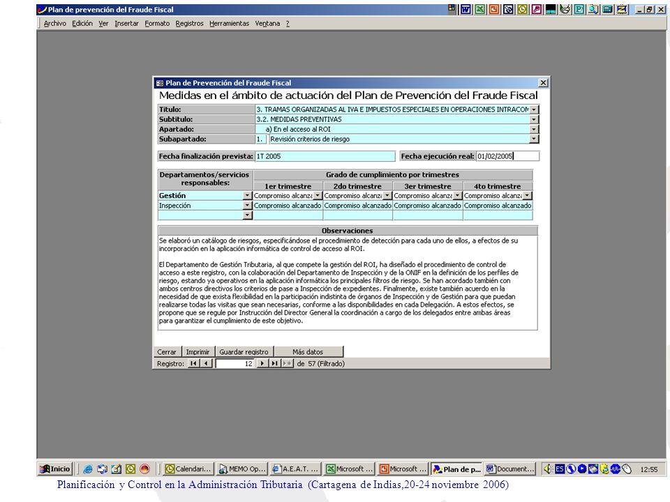 Planificación y Control en la Administración Tributaria (Cartagena de Indias,20-24 noviembre 2006)