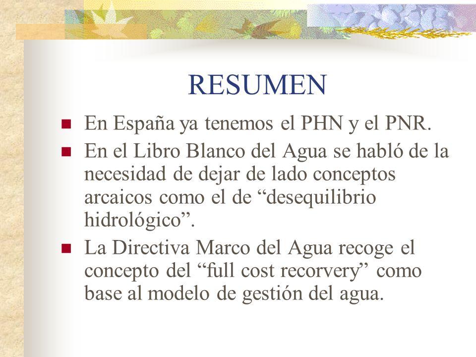 RESUMEN En España ya tenemos el PHN y el PNR.