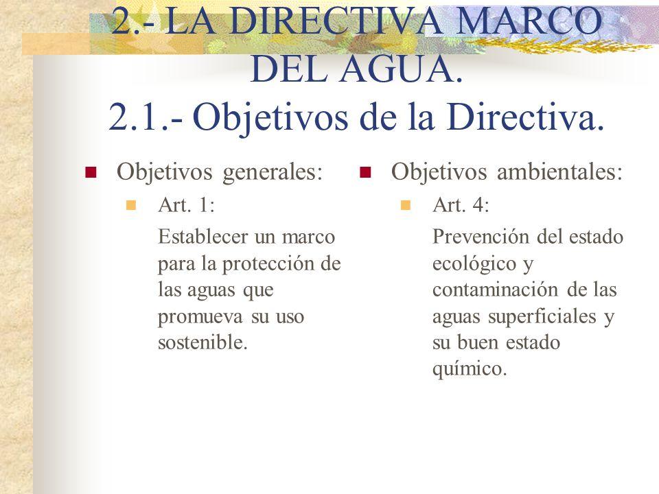 2.- LA DIRECTIVA MARCO DEL AGUA. 2.1.- Objetivos de la Directiva.