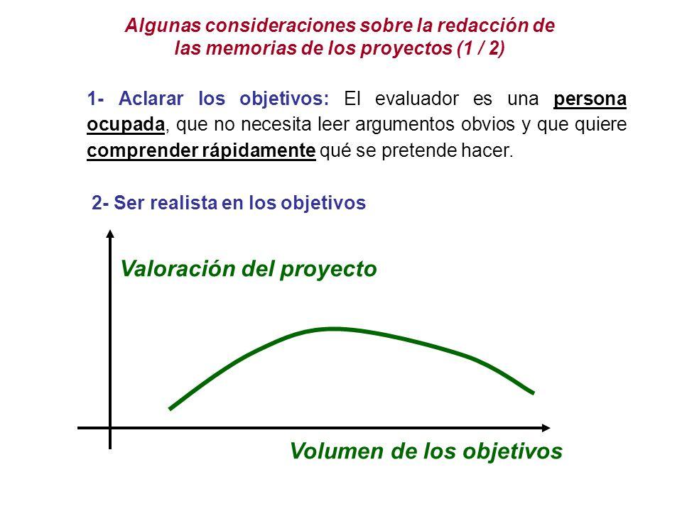Volumen de los objetivos Valoración del proyecto