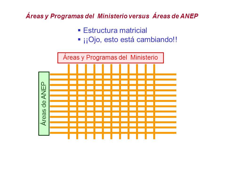 Áreas y Programas del Ministerio
