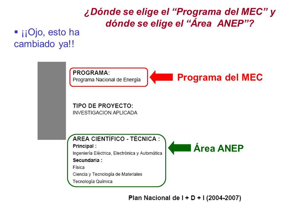 ¿Dónde se elige el Programa del MEC y dónde se elige el Área ANEP