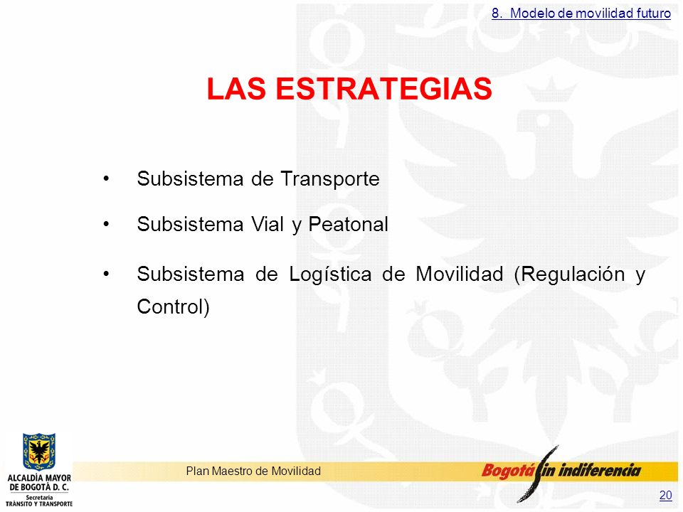 LAS ESTRATEGIAS Subsistema de Transporte Subsistema Vial y Peatonal