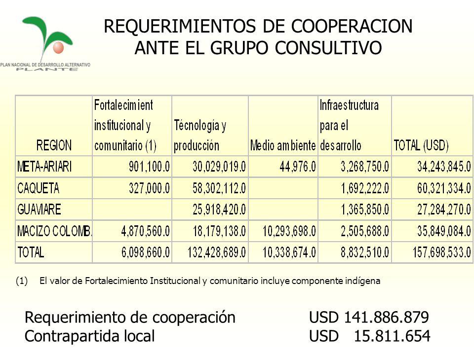 REQUERIMIENTOS DE COOPERACION ANTE EL GRUPO CONSULTIVO
