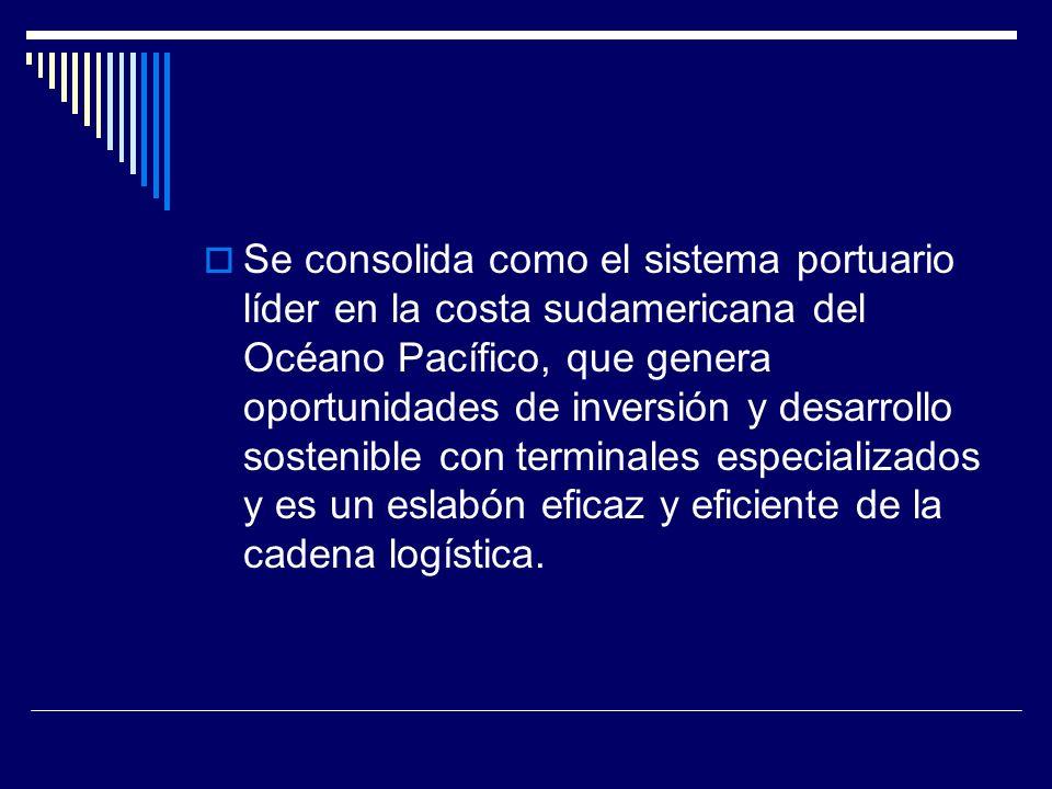 Se consolida como el sistema portuario líder en la costa sudamericana del Océano Pacífico, que genera oportunidades de inversión y desarrollo sostenible con terminales especializados y es un eslabón eficaz y eficiente de la cadena logística.