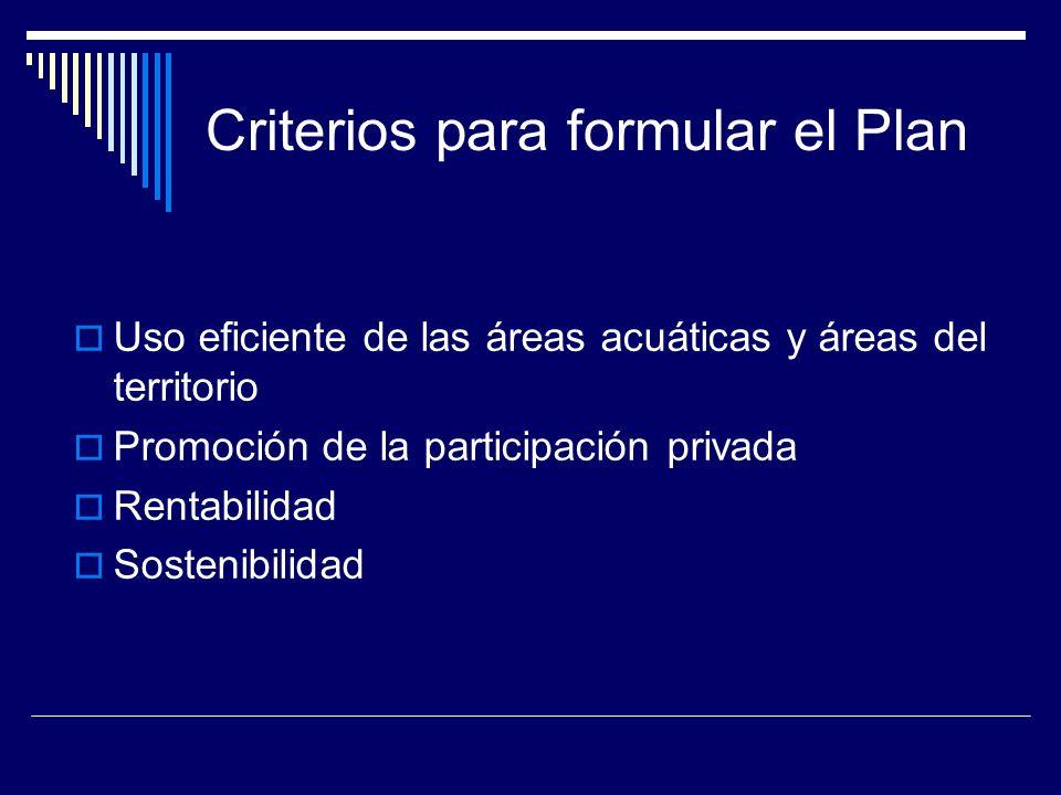 Criterios para formular el Plan